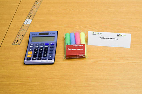 Calculator, ruler and pens