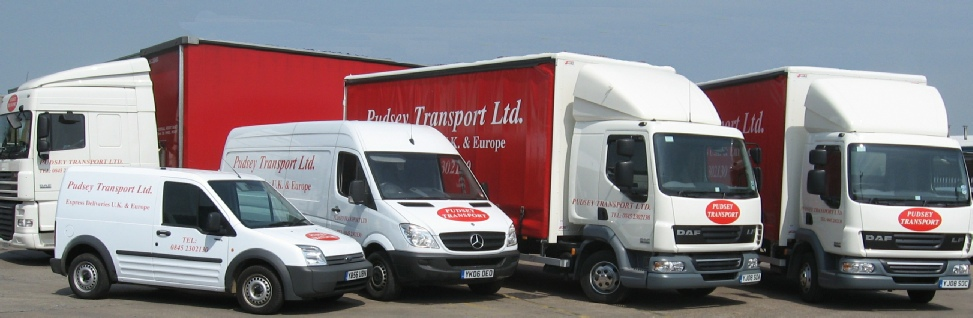 Group of vehicles including lorries and vans